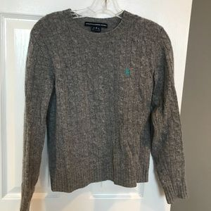 Ralph Lauren Sport Polo gray cable wool sweater